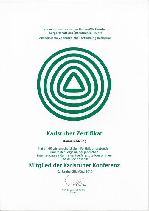 Zertifizierung als Mitglied der Karlsruher Konferenz