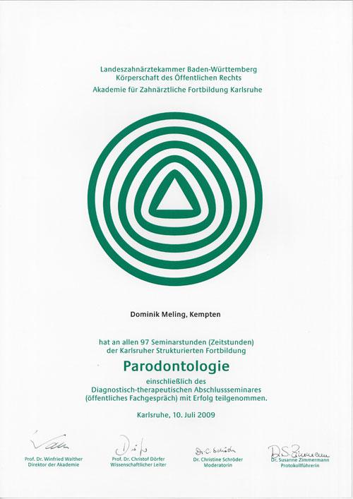 Zertifikat Parodontologie
